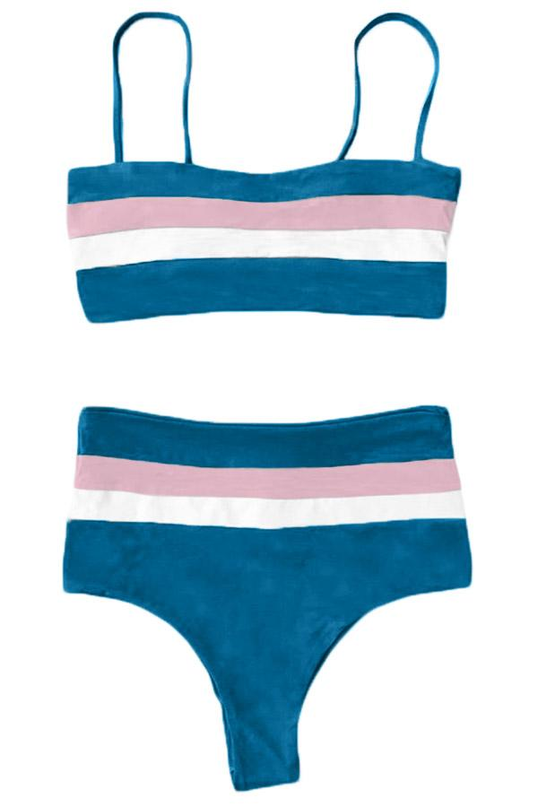 Blue Bandeau Tube Bikini Set - High Waist Swimwear - Sunny Angela