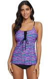 Blue Banded Printed Tankini Top with Triangle Briefs Swimsuit - Tankinis - Sunny Angela