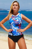 Blue Ethnic Print High Neck Strappy Tankini - Tankinis - Sunny Angela