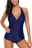 Blue Pleated Halter One Piece Swimwear - One-Piece - Sunny Angela
