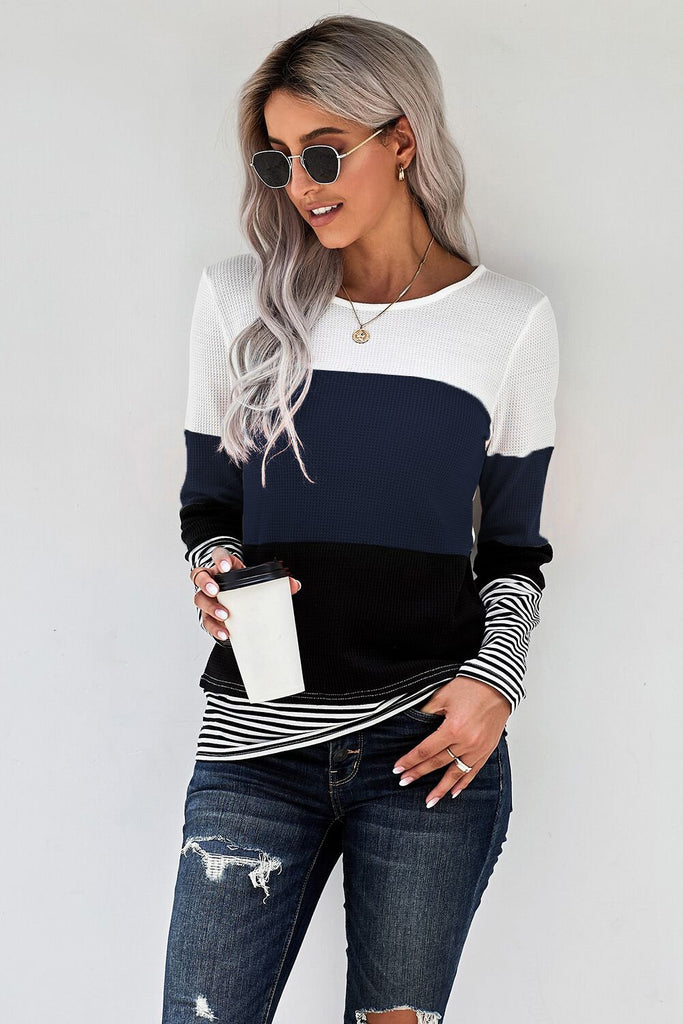 Blue Stylish Colorblock Splicing Stripes Top - S - Long Sleeve Tops - Sunny Angela