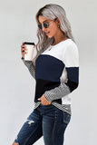 Blue Stylish Colorblock Splicing Stripes Top - L - Long Sleeve Tops - Sunny Angela