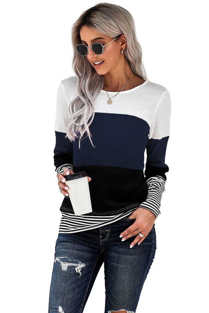 Blue Stylish Colorblock Splicing Stripes Top - XL - Long Sleeve Tops - Sunny Angela