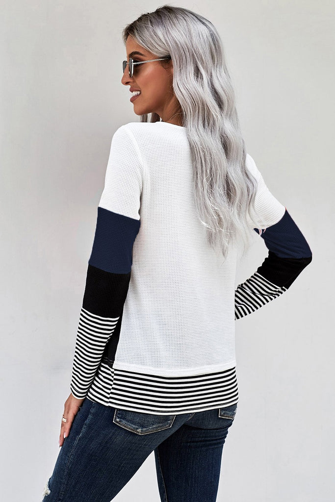 Blue Stylish Colorblock Splicing Stripes Top - M - Long Sleeve Tops - Sunny Angela