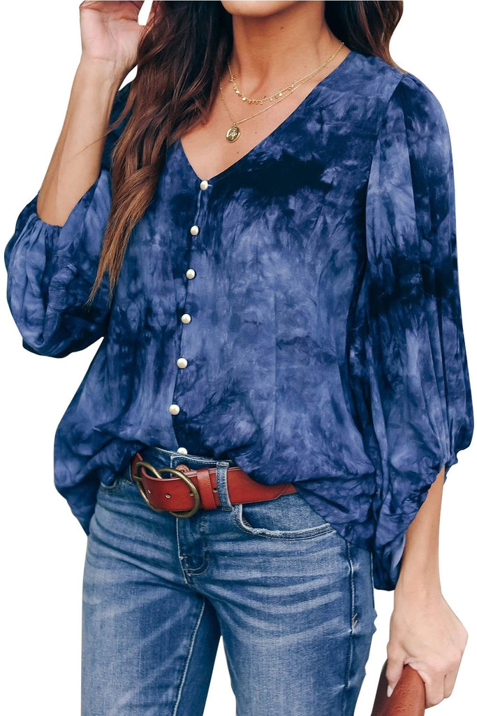 Blue Tie Dye Balloon Sleeve Top - Long Tops - Sunny Angela
