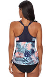 Blue Tropical Print Cut out Tankini Swimsuit - Tankinis - Sunny Angela