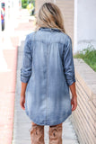 Blue Turn Down Collar Button Long Sleeve Denim Shirt Mini Dress - M - Dresses - Sunny Angela