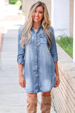 Blue Turn Down Collar Button Long Sleeve Denim Shirt Mini Dress - L - Dresses - Sunny Angela