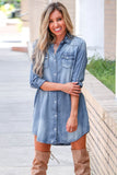 Blue Turn Down Collar Button Long Sleeve Denim Shirt Mini Dress - S - Dresses - Sunny Angela