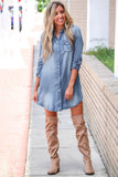 Blue Turn Down Collar Button Long Sleeve Denim Shirt Mini Dress - XL - Dresses - Sunny Angela