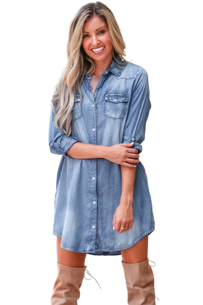 Blue Turn Down Collar Button Long Sleeve Denim Shirt Mini Dress - Dresses - Sunny Angela