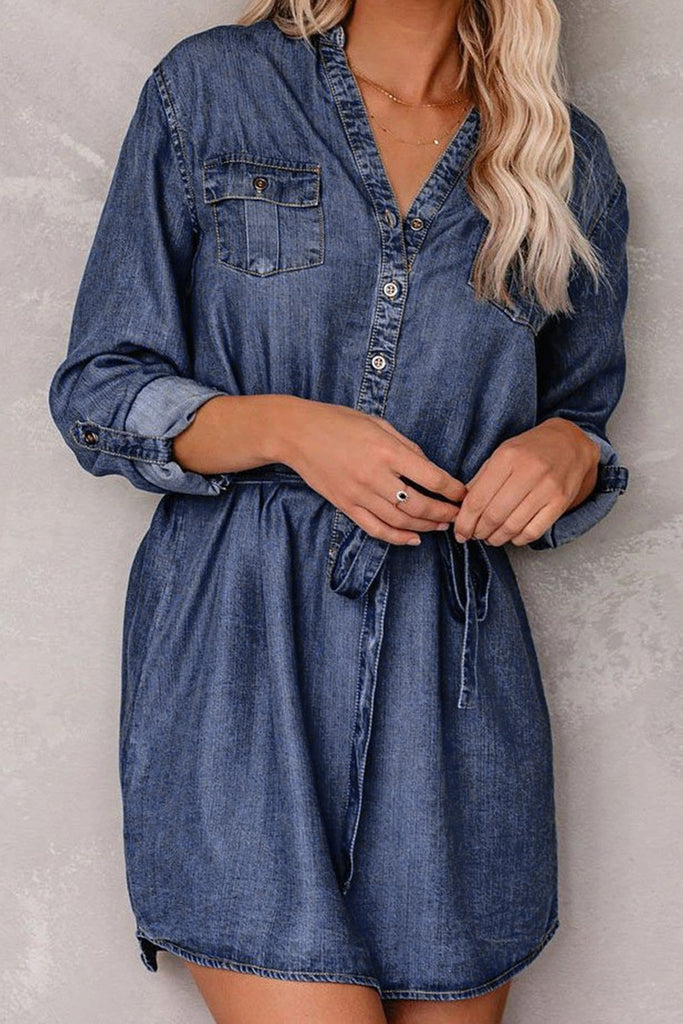 Blue V Neck Buttoned Shirt Denim Dress - L - Mini Dresses - Sunny Angela