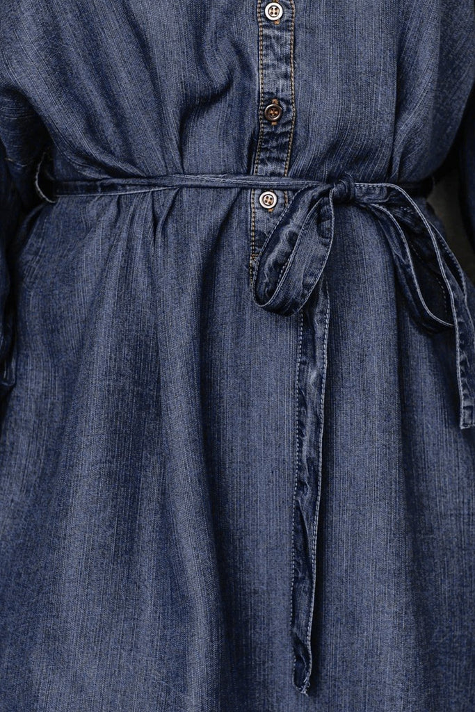 Blue V Neck Buttoned Shirt Denim Dress - Mini Dresses - Sunny Angela