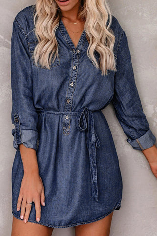 Blue V Neck Buttoned Shirt Denim Dress - S - Mini Dresses - Sunny Angela