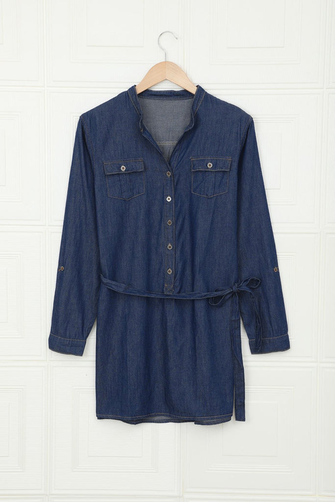 Blue V Neck Buttoned Shirt Denim Dress - XL - Mini Dresses - Sunny Angela