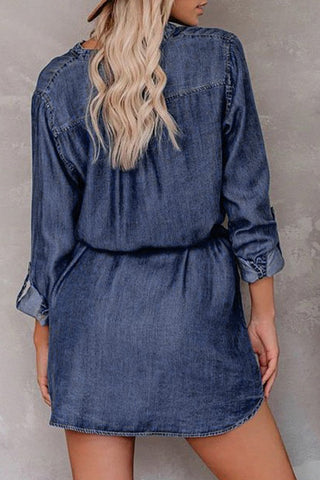 Blue V Neck Buttoned Shirt Denim Dress - M - Mini Dresses - Sunny Angela