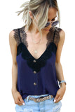 Blue V Neck Lace Strappy Cami Tank Top - Tops - Sunny Angela