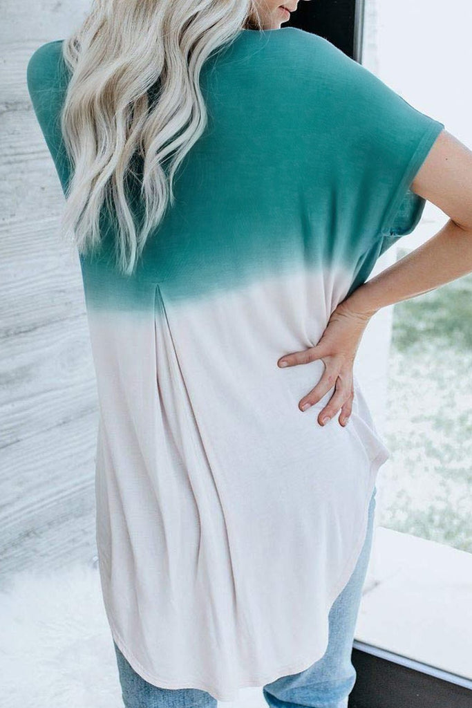 Blue White Ombre Color Block Casual Summer Shirt - Blouses & Shirts - Sunny Angela