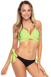 Bright Yellow Wrap Front Halter Bikini Tie Side Bottom Swimsuit - Bikinis - Sunny Angela