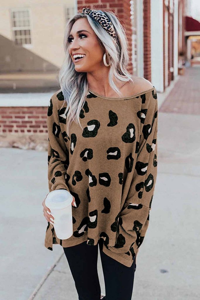 Brown Crew Collar Leopard Print High/Low Hem Long Sleeve Top - S - Tops - Sunny Angela