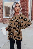 Brown Crew Collar Leopard Print High/Low Hem Long Sleeve Top - L - Tops - Sunny Angela