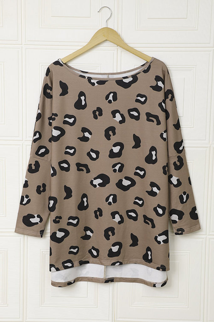 Brown Crew Collar Leopard Print High/Low Hem Long Sleeve Top - 2XL - Tops - Sunny Angela