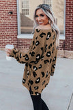 Brown Crew Collar Leopard Print High/Low Hem Long Sleeve Top - M - Tops - Sunny Angela
