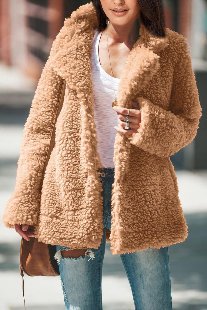 Brown Iconic Pocketed Sherpa Jacket - Suits & Coats - Sunny Angela