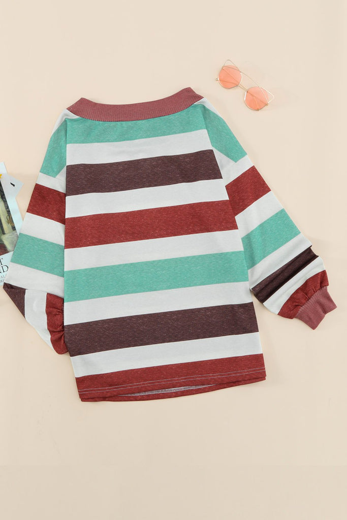 Brown One Shoulder Striped Color Block Lantern Long Sleeve Top - L - Tops - Sunny Angela