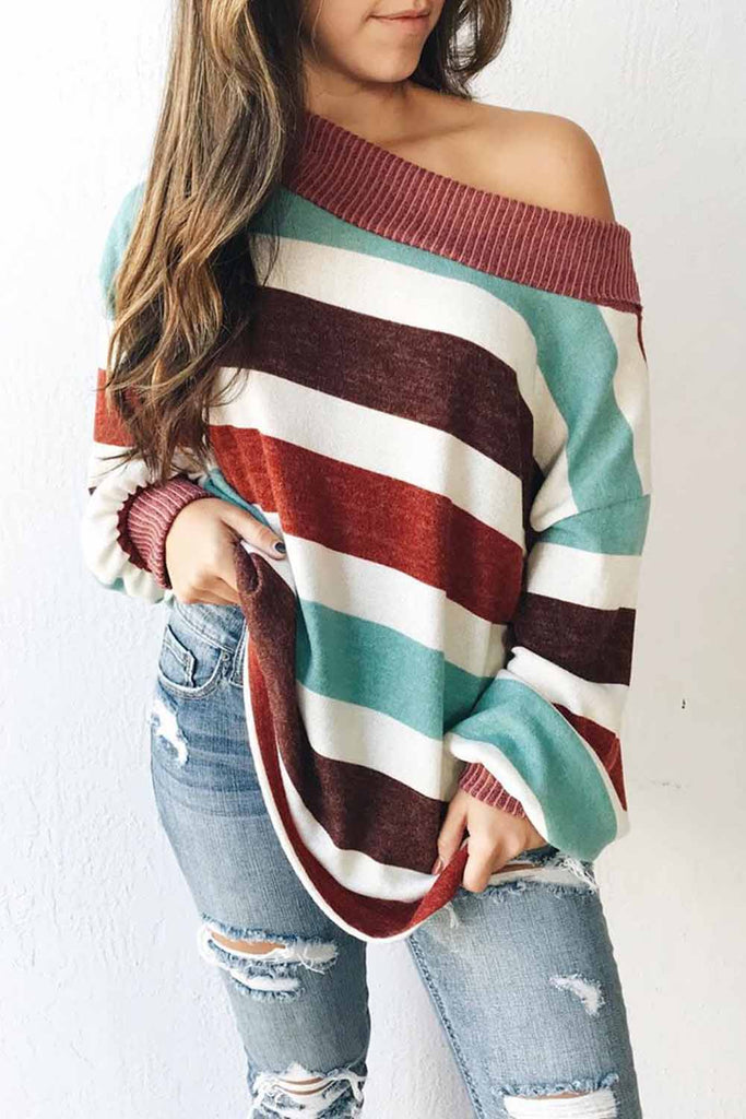 Brown One Shoulder Striped Color Block Lantern Long Sleeve Top - S - Tops - Sunny Angela