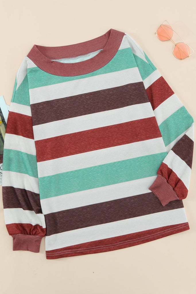 Brown One Shoulder Striped Color Block Lantern Long Sleeve Top - M - Tops - Sunny Angela