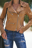 Brown Zipped Notch Collar Short Jacket - Suits & Coats - Sunny Angela