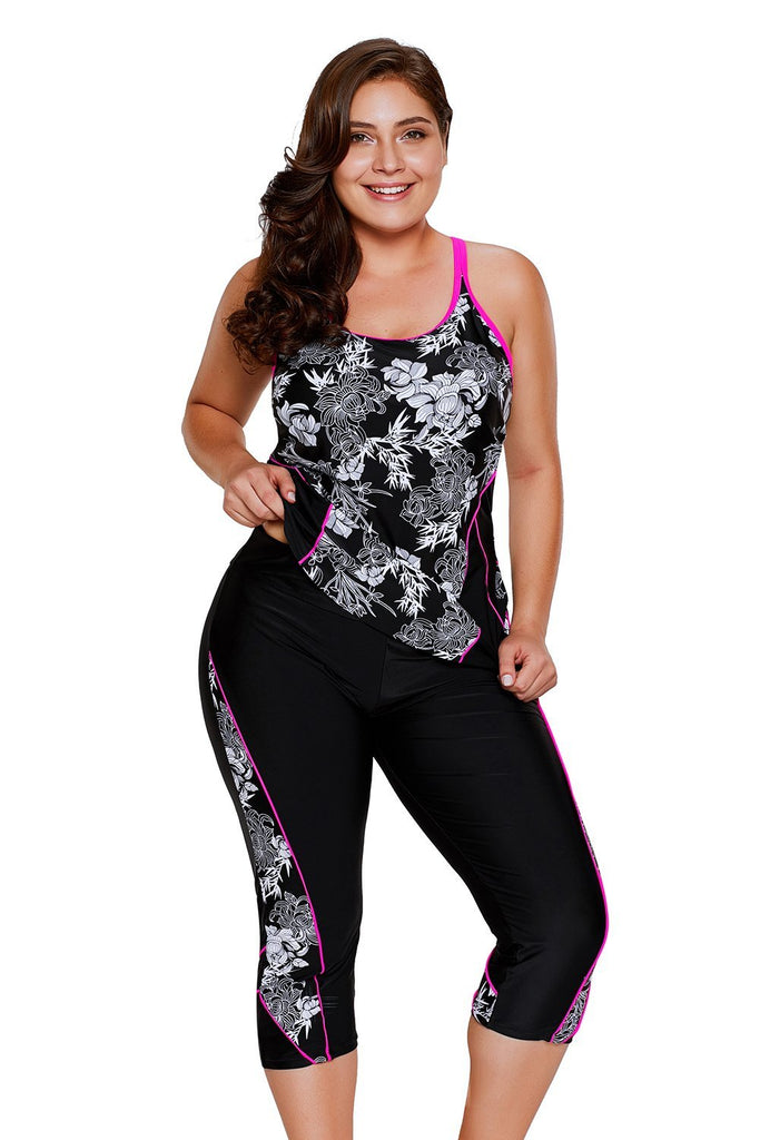 Carved Flowery Print Black Tankini and Capris Set - Tankinis - Sunny Angela