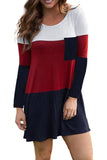 Color Block Pocket Mini Dress - L - Dresses - Sunny Angela