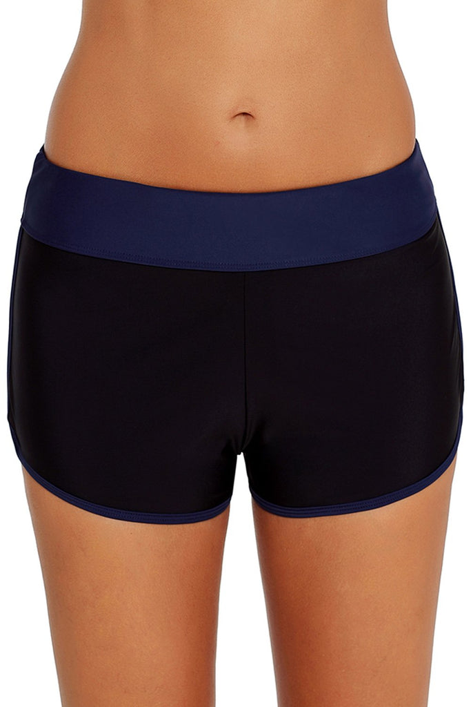 Contrast Navy Blue Trim Swim Board Shorts - Bottoms - Sunny Angela