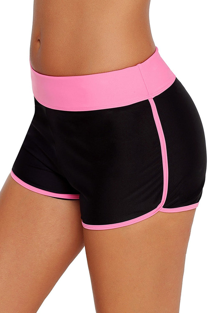 Contrast Pink Trim Swim Board Shorts - Bottoms - Sunny Angela