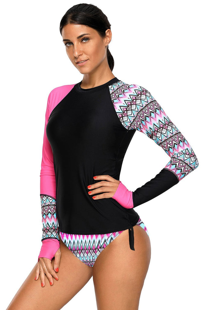 Contrast Rosy Detail Long Sleeve Tankini Swimsuit - Rash Guards - Sunny Angela