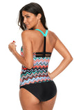 Coral Blue Zigzag Print Y Back Tankini Top - Swim Tops - Sunny Angela