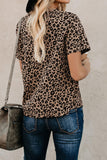 Crew Neck Leopard Print Basic T-shirt - Tops & Tees - Sunny Angela