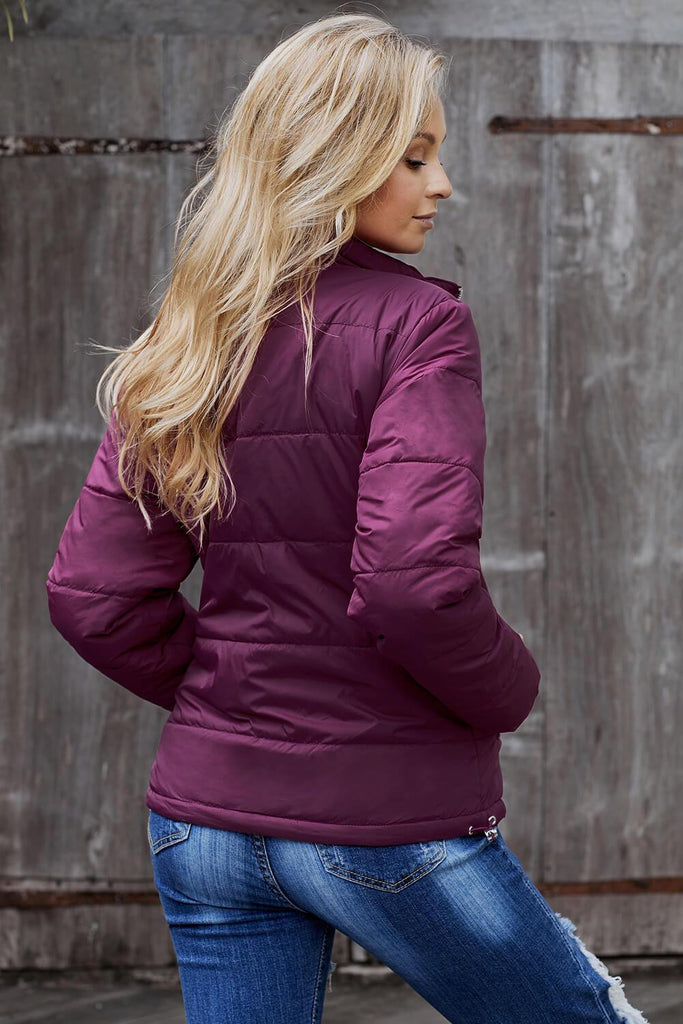 Fuchsia Mammoth Pocketed Puffer Jacket - Suits & Coats - Sunny Angela
