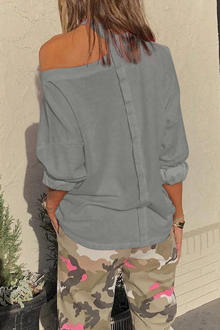 Gray Cut Out Shoulder Sweatshirt - M - Sweatshirts & Hoodies - Sunny Angela