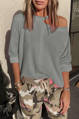 Gray Cut Out Shoulder Sweatshirt - S - Sweatshirts & Hoodies - Sunny Angela