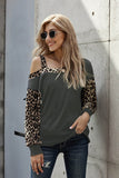 Gray Dew Shoulder Leopard Stitching Long-sleeved Blouse - S - Long Sleeve Tops - Sunny Angela