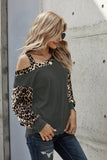Gray Dew Shoulder Leopard Stitching Long-sleeved Blouse - L - Long Sleeve Tops - Sunny Angela