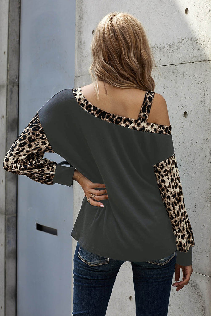 Gray Dew Shoulder Leopard Stitching Long-sleeved Blouse - M - Long Sleeve Tops - Sunny Angela