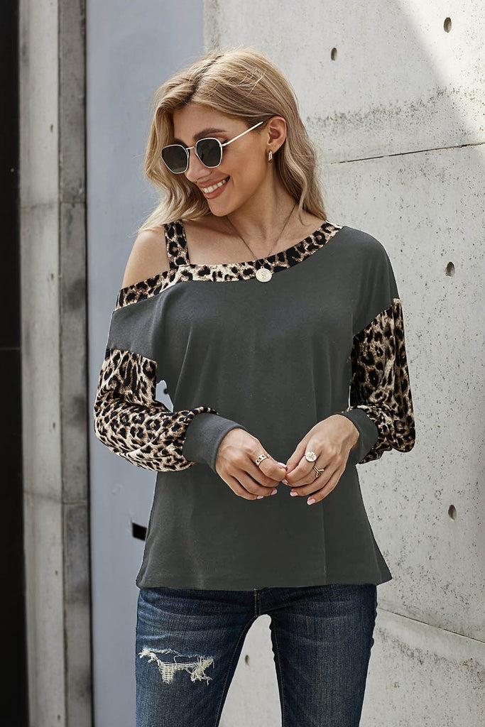 Gray Dew Shoulder Leopard Stitching Long-sleeved Blouse - XL - Long Sleeve Tops - Sunny Angela
