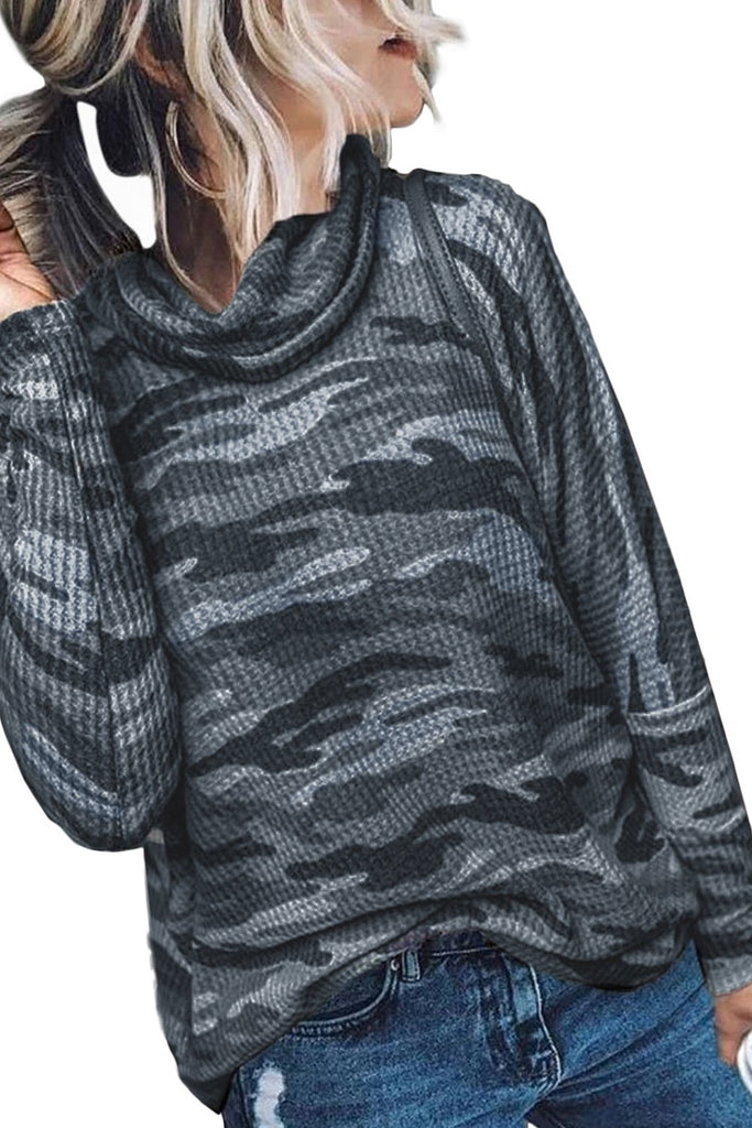 Gray High Neck Camo Print Top - L - Long Sleeve Tops - Sunny Angela