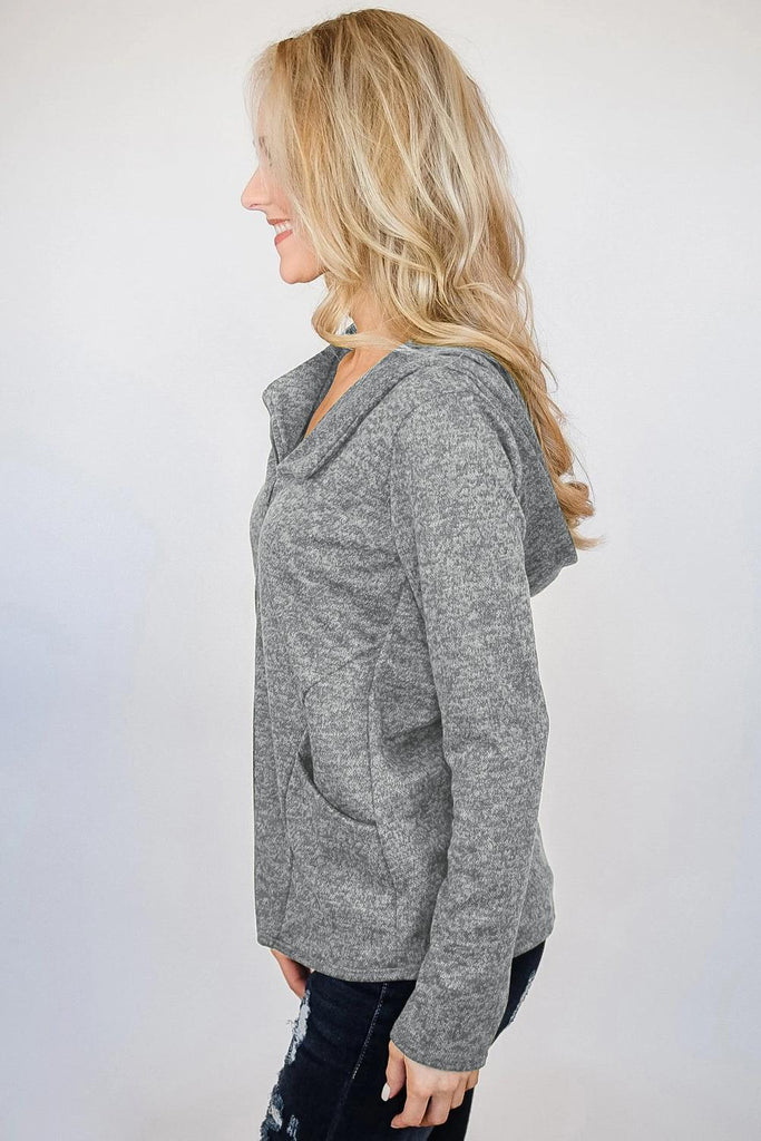 Gray Hooded Zipper Cardigan Coat - Suits & Coats - Sunny Angela