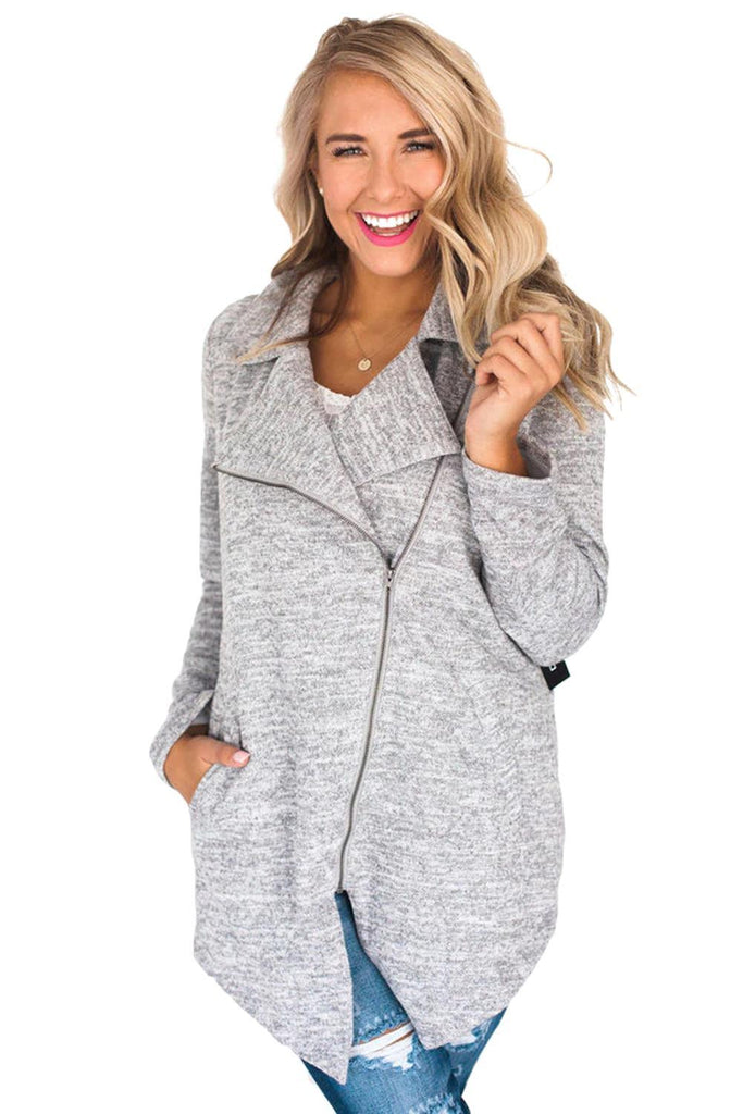 Gray Hudson Zipper Jacket - Suits & Coats - Sunny Angela