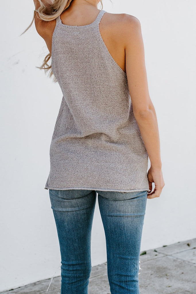Gray Knit Tank Top - Tops - Sunny Angela